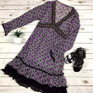 Dresses & Skirts - Sheer Purple and Black BOHO Hippie Detailed Dress